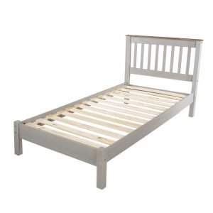 Corona Washed Grey 3ft slatted low end bedstead - IW Furniture - CRG300LE
