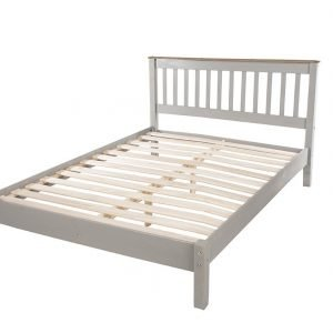 Corona Washed Grey 4'6 slatted low end bedstead - IW Furniture - CRG460LE