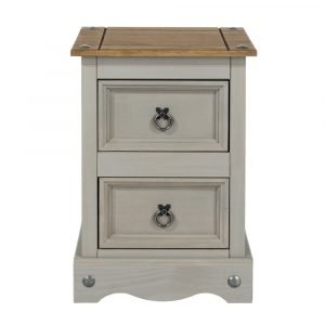 Corona Washed Grey 2 drawer petite bedside cabinet - IW Furniture - CRG509