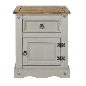 Corona Washed Grey 1 door 1 drawer bedside cabinet - IW Furniture - CRG510