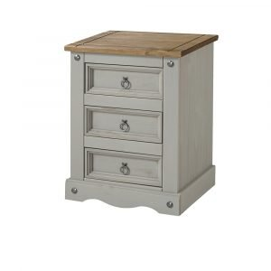 Corona Washed Grey 3 drawer bedside cabinet - IW Furniture - CRG511