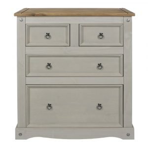 Corona Washed Grey 2 and 2 drawer chest - IW Furniture - CRG512