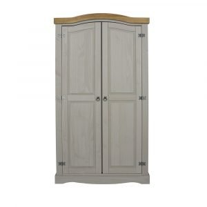Corona Washed Grey 2 door wardrobe - IW Furniture - CRG520