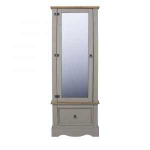 Corona Washed Grey armoire with mirrored door - IW Furniture - CRG525