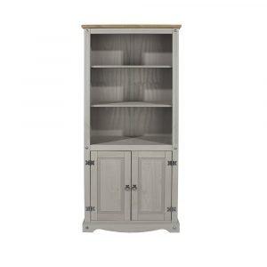 Corona Washed Grey 2 door bookcase - IW Furniture - CRG903