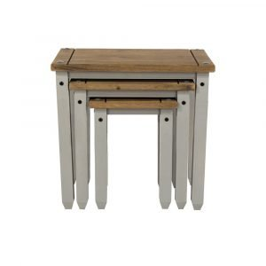 Corona Washed Grey nest of tables - IW Furniture - CRG907