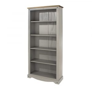 Corona Washed Grey tall bookcase - IW Furniture - CRG924