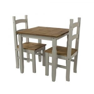 Corona Washed Grey square dining table set - IW Furniture - CRGTBSET1