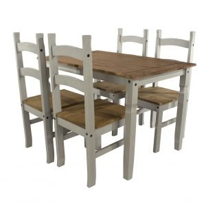 Corona Washed Grey rectangular dining table 4 chair SET - IW Furniture - CRGTBSET2