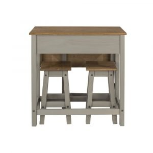 Corona Washed Grey breakfast drop leaf table & 2 stools SET - IW Furniture - CRGTBSET4