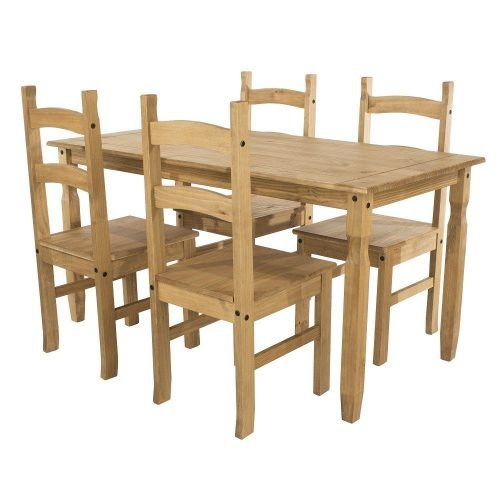 CRTBSET3 corona premium rectangular dining table plus 4 chairs - IWFurniture