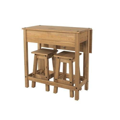CRTBSET4 Corona Premium breakfast drop leaf table with 2 stools - IWFurniture