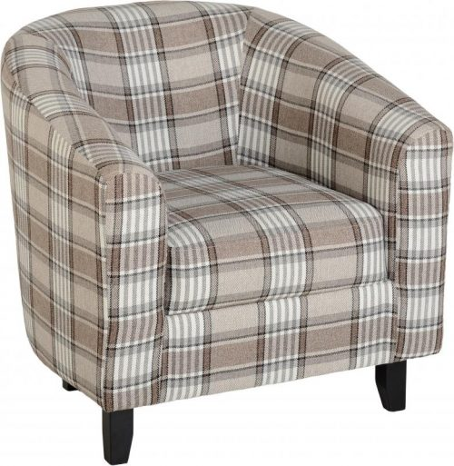 300-309-022 Hammond Tub Chair Grey-Brown Tartan Fabric - IWFurniture