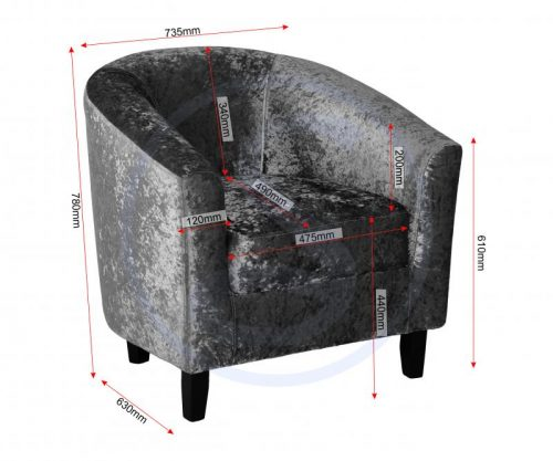 300-309-023 Hammond Tub Chair Silver Crushed Velvet - IWFurniture