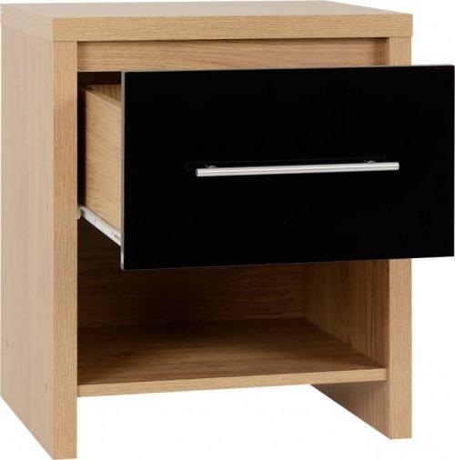 100-103-031 Seville 1 Drawer Bedside Cabinet Black Gloss - IWFurniture