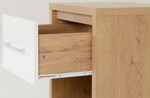 100-103-027 Seville 1 Drawer Bedside Cabinet White Gloss - IWFurniture