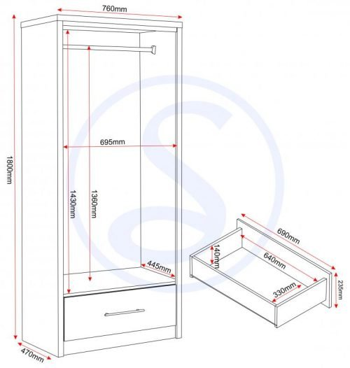 images gallery med MED SEVILLE 2 DOOR 1 DRAWER WARDROBE LOGO