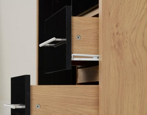 100-101-067 Seville 3 Door 2 Drawer Wardrobe Black Gloss - IWFurniture