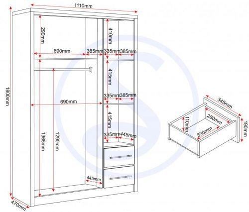images gallery med MED SEVILLE 3 DOOR 2 DRAWER WARDROBE OPTION 2 LOGO