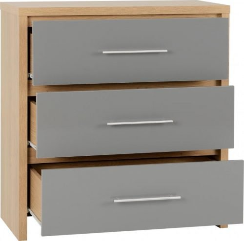 100-102-071 Seville 3 Drawer Chest Grey Gloss - IWFurniture