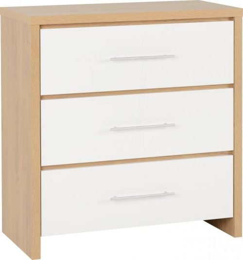 100-102-051 Seville 3 Drawer Chest White Gloss - IWFurniture