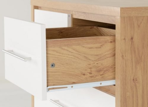 100-102-084 Seville 3 and 2 Drawer Chest White Gloss - IWFurniture