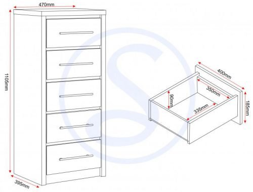 100-102-083 Seville 5 Drawer Narrow Chest White Gloss - IWFurniture