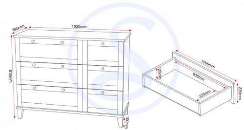 100-102-001 Arcadia 3 Drawer Chest - IWFurniture