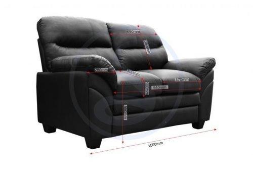 300-308-039Capri 3+2 Suite Black Faux Leather - IWFurniture