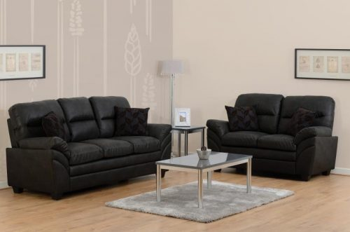 300-308-039 Capri 3+2 Suite Black Faux Leather - IWFurniture