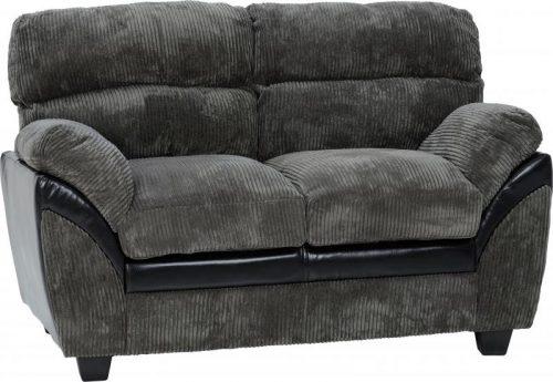 300-308-041Capri 3+2 Suite Charcoal Fabric Black Faux Leather - IWFurniture