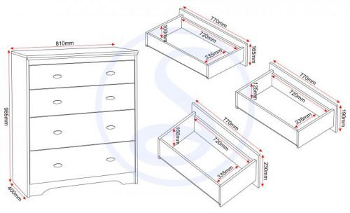 100-102-050 Regent 4 Drawer Chest - IWFurniture