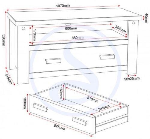 300-305-022 Tortilla 1 Drawer Flat Screen TV Unit - IWFurniture