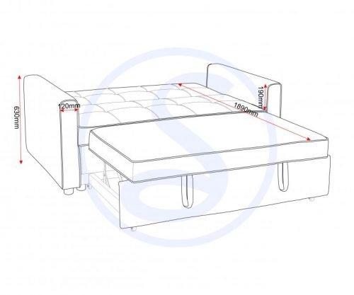 300-308-043 Astoria Sofa Bed in Navy Blue Fabric - IWFurniture