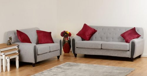 300-308-051 - Chester Suite in Light Grey Fabric - IW Furniture