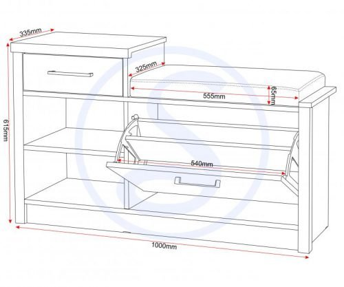 100-120-019Lisbon Mini Shoe Rack Storage Seat in Black Wood Grain Black Faux Leather - IWFurniture