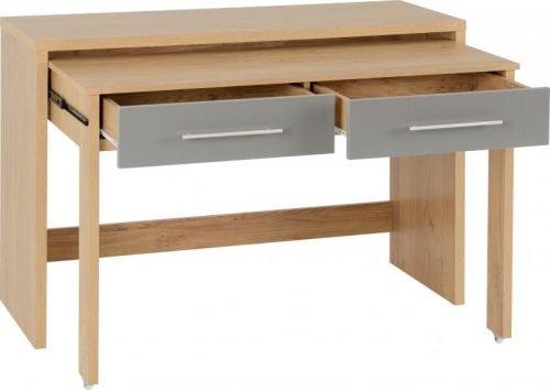 500-501-012 Seville 2 Drawer Slider Desk Grey Gloss - IWFurniture