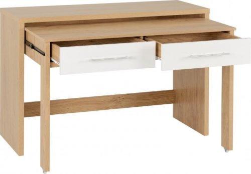 Seville 2 Drawer Slider Desk in White Gloss 2