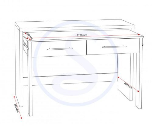 500-501-013 Seville 2 Drawer Slider Desk White Gloss - IWFurniture
