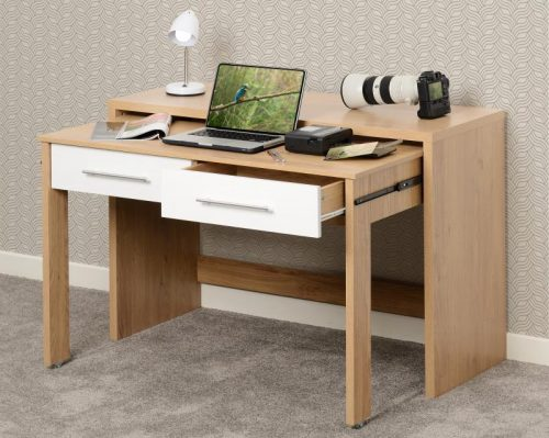 500-501-013 Seville 2 Drawer Slider Desk White Gloss - IWFurniture