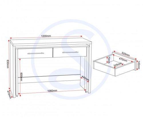 Seville 2 Drawer Slider Desk in White Gloss 6