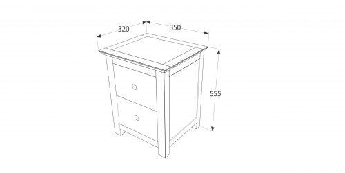 AY209 Ayr 2 drawer petite bedside cabinet - IWFurniture