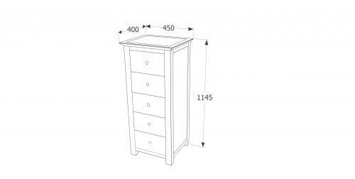 AY217 Ayr 5 drawer narrow chest - IWFurniture