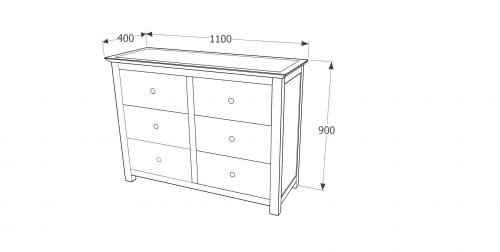 AY233 Ayr 3+3 dr wide chest - IWFurniture