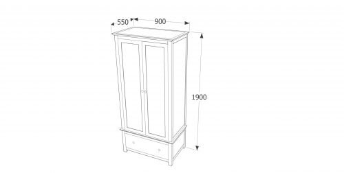 AY281 Ayr 2 door 1 drawer wardrobe - IWFurniture