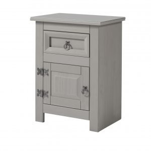 CPT510 Compact 1 door, 1 drawer bedside cabinet with glas top - IWFurniture