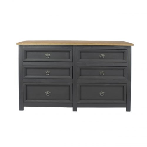 CRC513 Corona Carbon 3 plus 3 drawer wide chest - IWFurniture