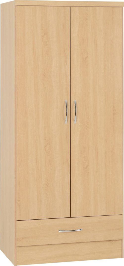 100-101-100 Nevada 2 Door 1 Drawer Wardrobe - IWFurniture