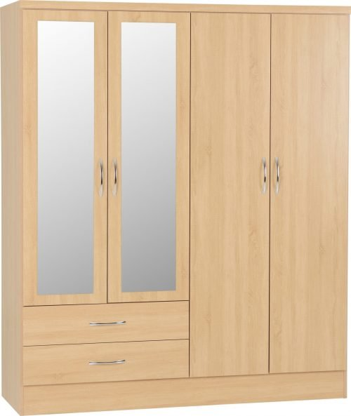 100-101-102 Nevada 4 Door 2 Drawer Wardrobe - IWFurniture