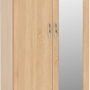 100-101-106 Nevada Mirrored 2 Door Wardrobe - IWFurniture